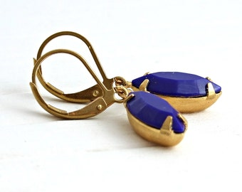 Royal Blue Earrings .. blue earrings, small earrings, small blue earrings, navette earrings