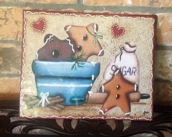 Gingerbread Kitchen Tile..Trivet..ginger Kitchen..Country Kitchen..Housewarming Gift..Gingerbread Lover..Home Decor.. Kitchen Decor