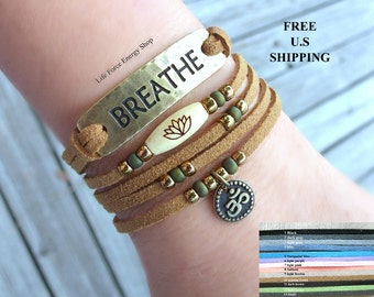 Breathe Vegan wrap, Lotus, Om, with Bronze wrap, Boho, chic wrap, Yoga wrap, Yoga bracelet, Reiki, lotus bracelet, om bracelet