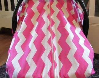 Cool 100% Cotton Baby Car Seat Canopy Cover Pink Chevron ZigZag (fitted), FREE MONOGRAMMING