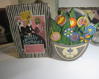Fantastic 1902's Bridge Tally Set Art Deco Buzza Novelty figural Figural Wall Pocket filled with Stylized Art Deco flowers, Leaves Tallies