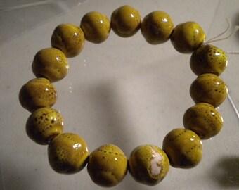 Olive Ceramic Bracelet - Chunky - Size 8 Stretch - Stackable -