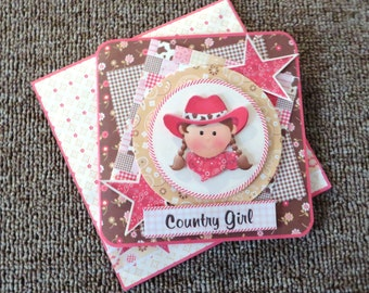"""Handmade """"cowgirl"""" birthday with matching envelope."""