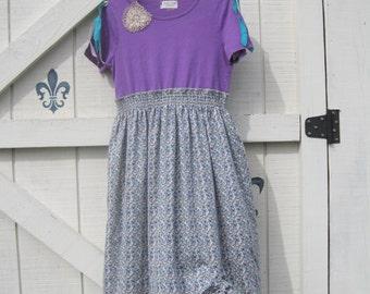 Bohemian dress, romantic dress, prairie dress, purple vintage trim, OOAK, calico shabby chic, summer dress, purple M medium.