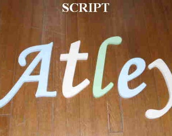 """SALE :) 8"""" Size Painted Wooden Wall Letters, Script plus Various other Fonts, Gifts and Decor for Nursery, Home, Playrooms, Dorms"""