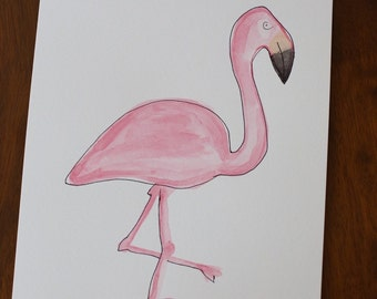 Watercolor Painting - Pink Flamingo