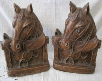 Wonderful Vintage Pair of Horses in Stable Syroco Bookends