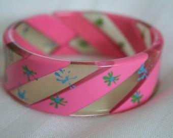 Pink Striped Bangle Bracelet 1980s