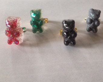 Set of Three Gummy Bear Adjustable Rings