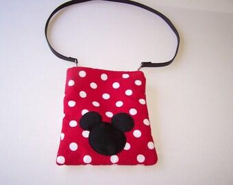 Disney Inspired CrossBody Bag Red White Dots Mickey Ears