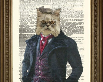 """DANDY VICTORIAN CAT: Fun Dictionary Art Print Wall Hanging on Old Dictionary Page (8 x 10"""")"""