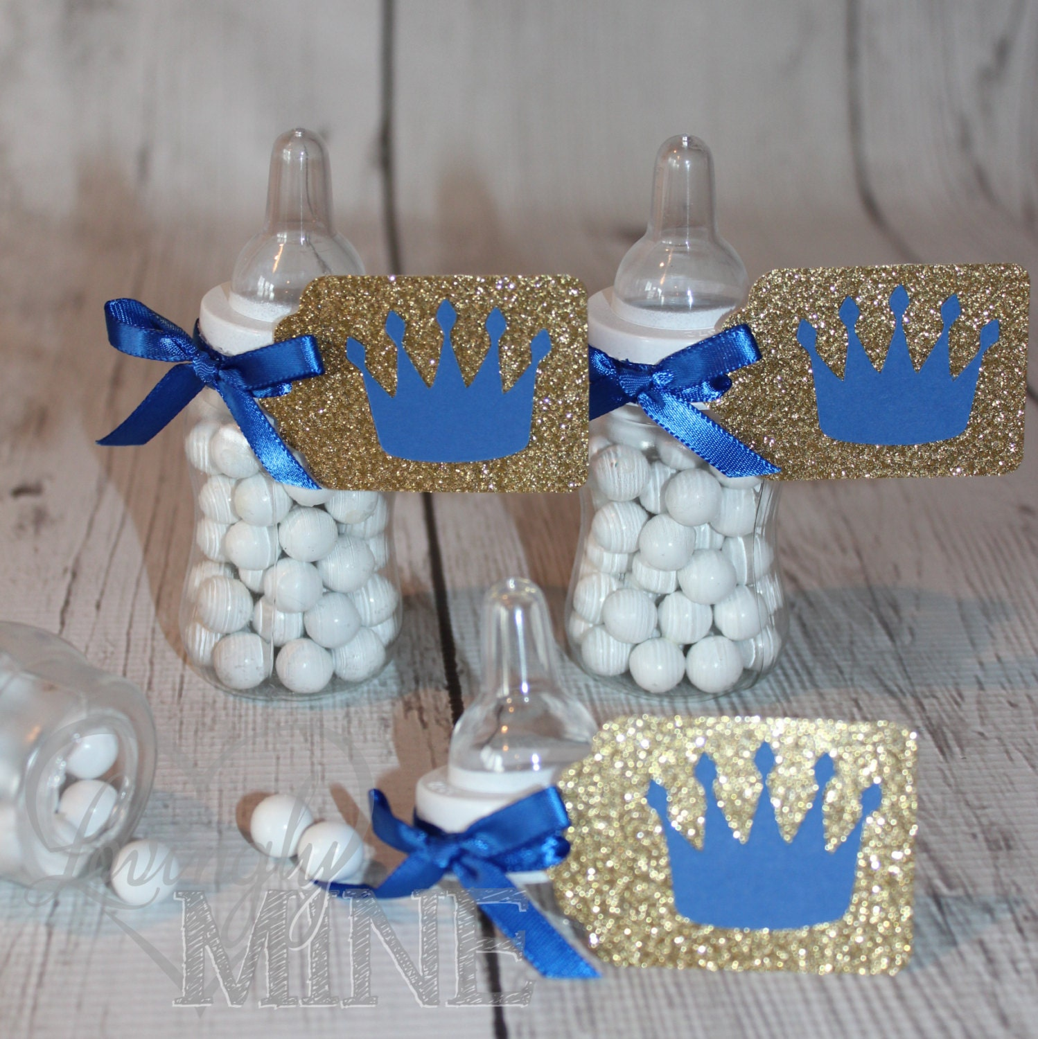 Little prince baby bottle favors in royal blue glitter gold for Baby bottle decoration ideas