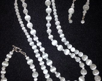 White Cat's Eye Double Strand Beaded necklace Set