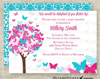 BUTTERFLY BABY SHOWER Invitations Pink and Blue Butterfly Fairy Tale Butterfly Digital diy Printable Personalized - 175715105