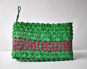 African Basket Bag, Palm Leaf Basket Woven Clutch Wallet