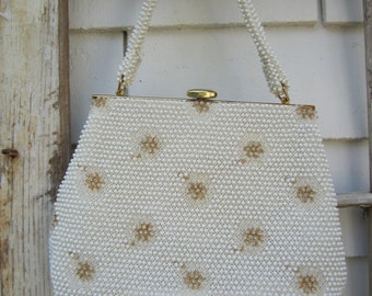 SALE 60s Handbag Corde Beaded Purse Vintage 60s white with gold floral detail