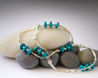 Turquoise Necklace. December Birthstone Jewelry. two layer turquoise Sterling Silver necklace.