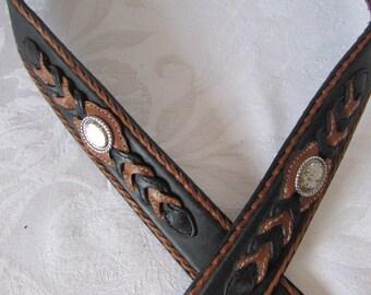 Large sz. 46 WESTERN LEATHER BELT Justin Brand Black Brown silver detail