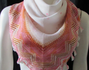 Large square  Summer Scarf Pink white/ cotton Fresh soft lightweight Summer Travel
