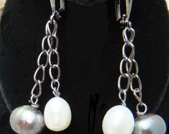 j3254m Black and White Freshwater Pearl Leverback dangle earrings in Gun Metal Black
