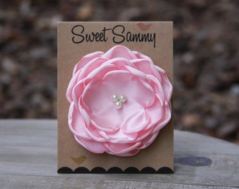 30 Colors Medium Satin Flower Pin, Light Pink Satin Flower Pin
