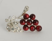 Rhinestone and Amazing Red Bead Cluster of Grapes Brooch Pin // Estate Vintage Jewelry // fruitsdesbois