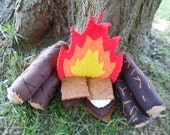 Children's Playtime Burning Camp Sets: Fire Logs Canteen Compass S'more Stones