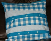 Cushion cover,pillow sham,throw pillow,16 x 16 inches,blue gingham,pale blue floral and teal with heart buttons,wavy stripe design,unique,