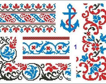Cross Stitch Pattern Antique Repeating Borders Samplers 1 thru 5 PDF patterns