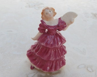 Miniature Porcelain Victorian Lady in Rose with Fan