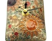 Enamelled freestanding art clock - sunflower