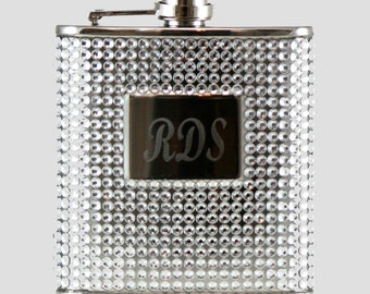 Silver Crystal Bead and Rhinestone 6oz Hip Flask, Engravable