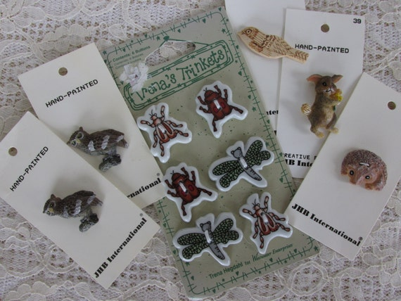 11 Buttons on Cards, Bird, owl buttons, insect buttons, bunny and porcupine, sewing supply, Jewelry Supply, Craft Button Destash lot, 1E
