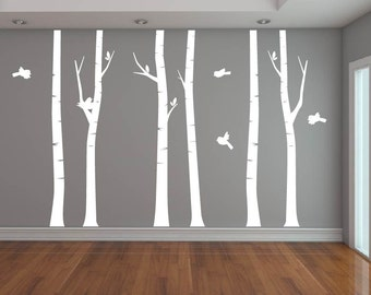 Nursery decals - Brich trees - Wall decal - tree decal - Bird decal -  set of trees - Vinyl tree decal - Vinyl decals