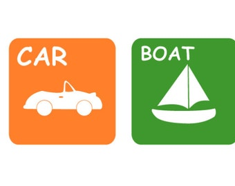 children's decals - Modern TRANSPORTATION squares -  Nursery decal - vinyl wall decal -  boat car plane train