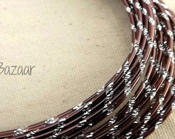 Aluminum wire for jewelry and crafts, 2mm round diamond cut brown and silver color