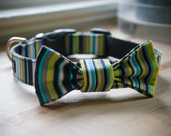 Casey Jones Striped Dog Collar and Removable Bow Tie set