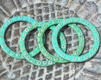 4 Green Patina Ring Donuts, Weather Effect, 32mm, Mixed Media Accent, Beading DIY Rustic Girl Supplies, Hand Patinaed