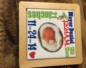 Birth announcement tile with wooden frame