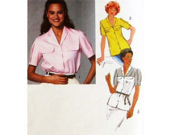Blouse Pattern, Simplicity 9318, Short Sleeve Shirt, Button Front Shirt with Pleated Sleeves, Woman's Shirt with Detailed Yoke