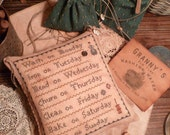 PRIMITIVE Cross Stitch E-Pattern- Pdf- Primitive - WaSh on Monday - IRON on Tuesday- LauRa InGaLLs SAMPLER -The Blue Attic