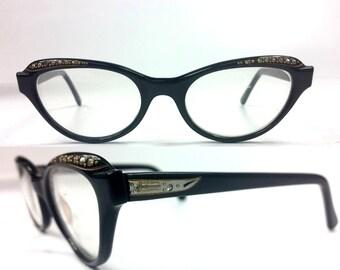 50s Cat Eye Mid Century Liberty Rhinestone Espresso Brown Silver Glasses