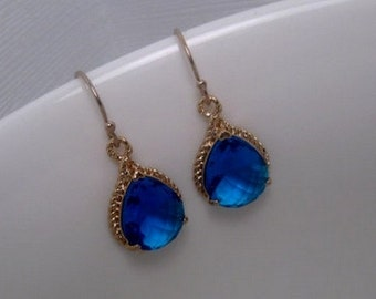 Blue Earrings - Crystal Earrings - Gold Earrings - Dangle - Drop - Rope - Royal Blue - Blue And Gold - 14k Gold Filled Earwires