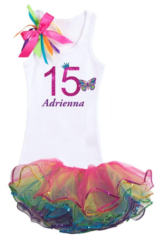 Rainbow Butterfly 15th Birthday Outfit Rainbow by BubbleGumDivas