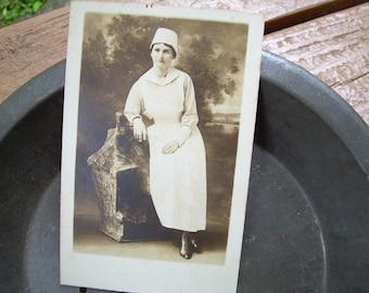 Early 1900's RPPC Real Photo Postcard - Nurse in Uniform