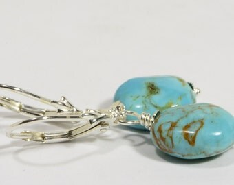 Natural Turquoise Earrings  Natural Gemstone Jewelry Sterling Silver Earrings Birthstone Jewelry