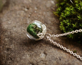 Moss Pendant, Moss Necklace, Miniature Terrarium Jewelry,Friendship Necklace