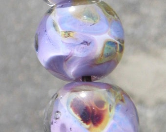 Lampwork Glass Beads - Five Hand-Made Beads, Tropical Pink Beads SRAJD FHFTeam