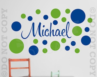 Personalized POLKADOTS and NAME Vinyl Wall Decal Sticker Girl Boy Nursery