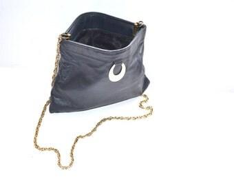 Vintage 50s   leather navy blue clutch handbag evening purse  chain strap.Mad Men style